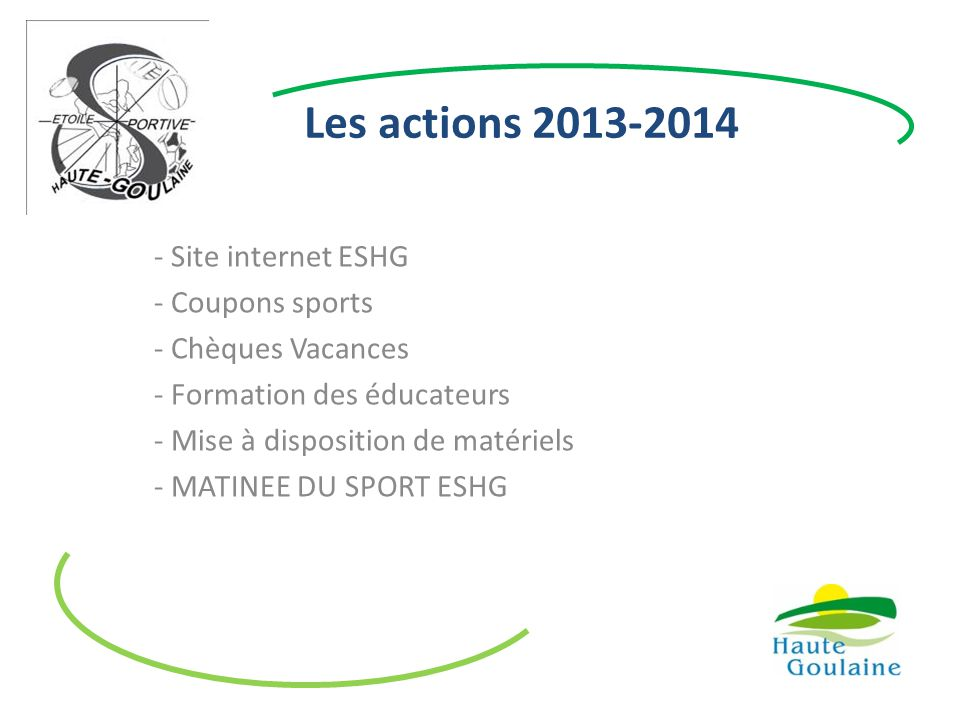 Les actions 2013-2014 Site internet ESHG Coupons sports