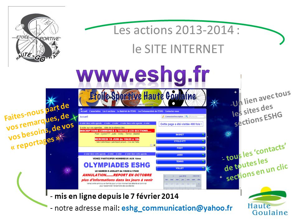 Les actions 2013-2014 : le SITE INTERNET