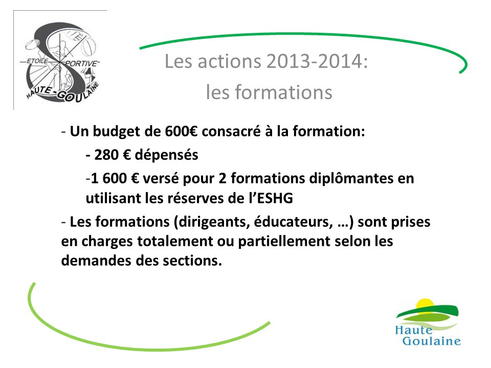 Les actions 2013-2014: les formations