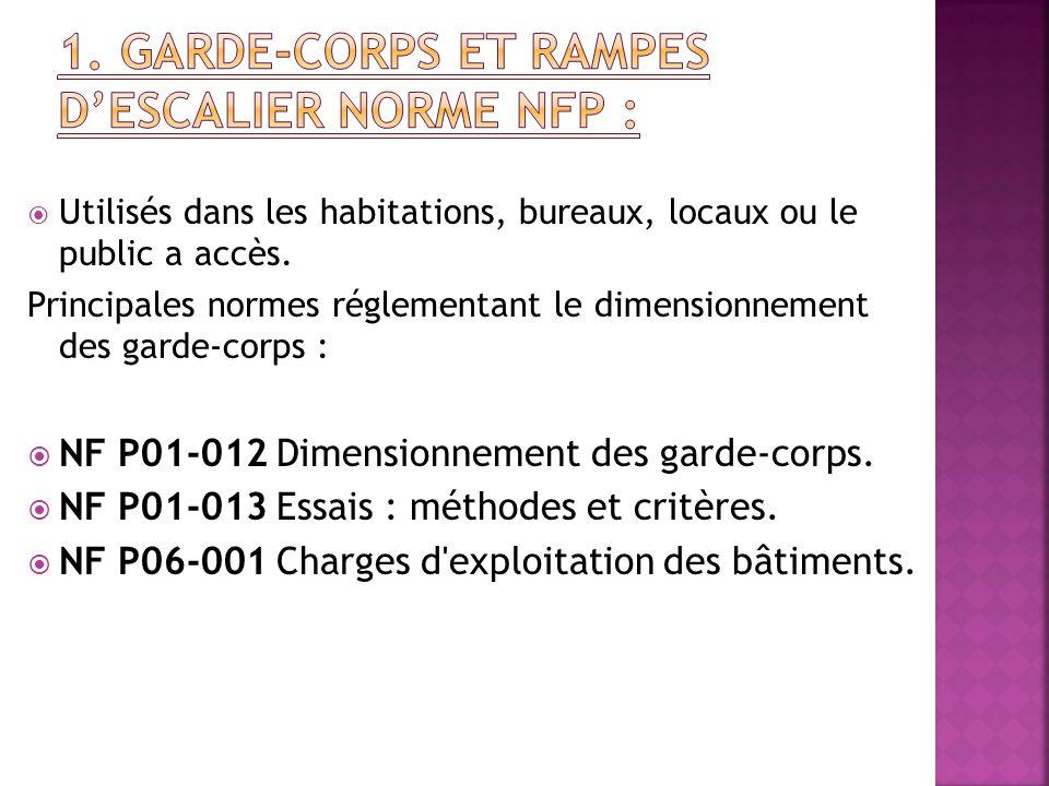 1. Garde-corps et rampes d'escalier Norme NFP :