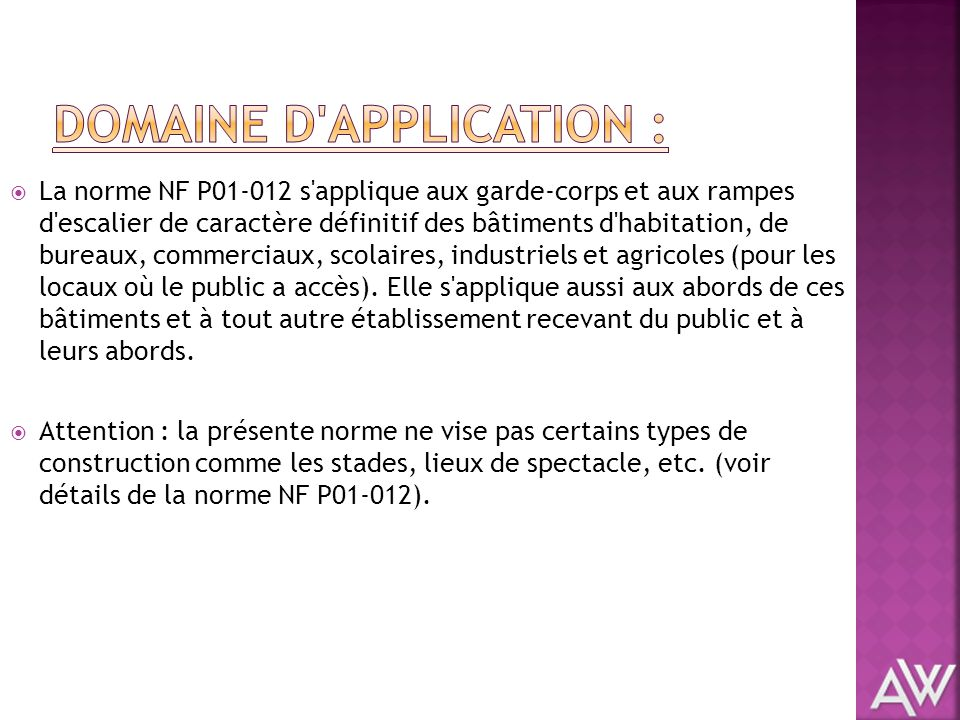 Domaine d application :