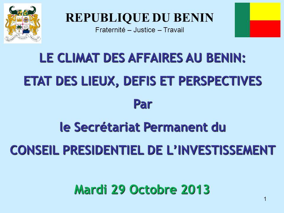 LE CLIMAT DES AFFAIRES AU BENIN: ETAT DES LIEUX, DEFIS ET PERSPECTIVES