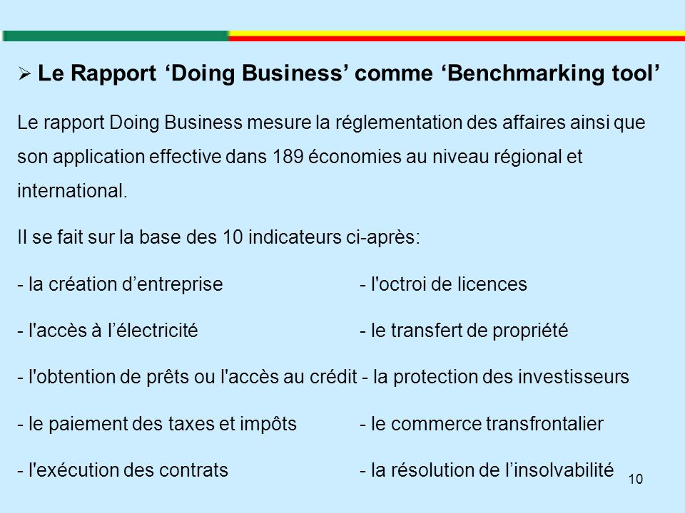 Le Rapport 'Doing Business' comme 'Benchmarking tool'
