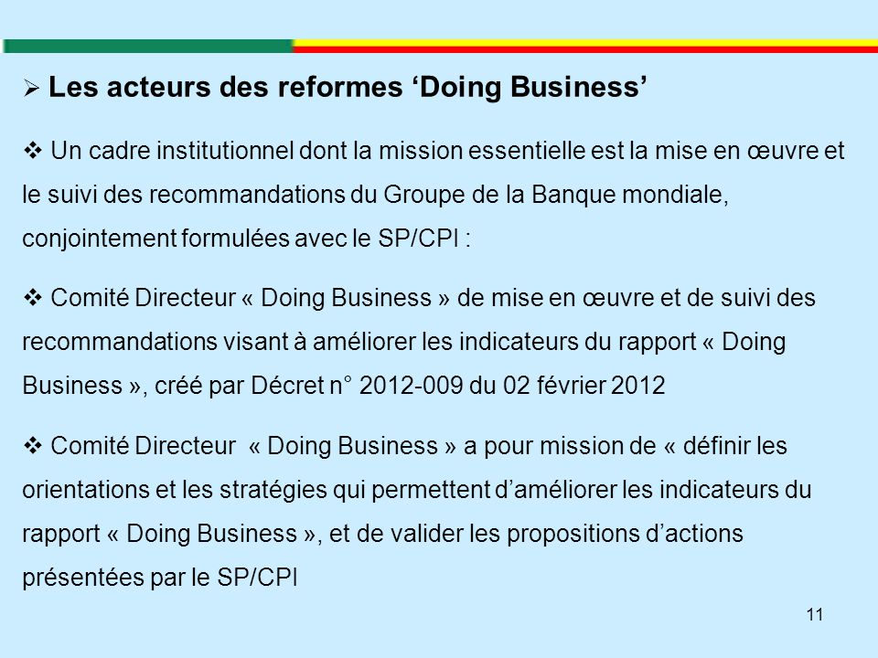 Les acteurs des reformes 'Doing Business'