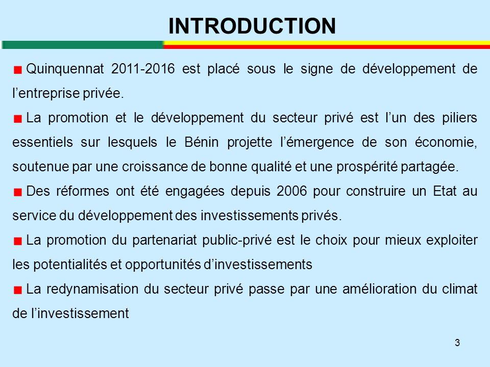 INTRODUCTION Quinquennat 2011-2016 est placé sous le signe de développement de l'entreprise privée.