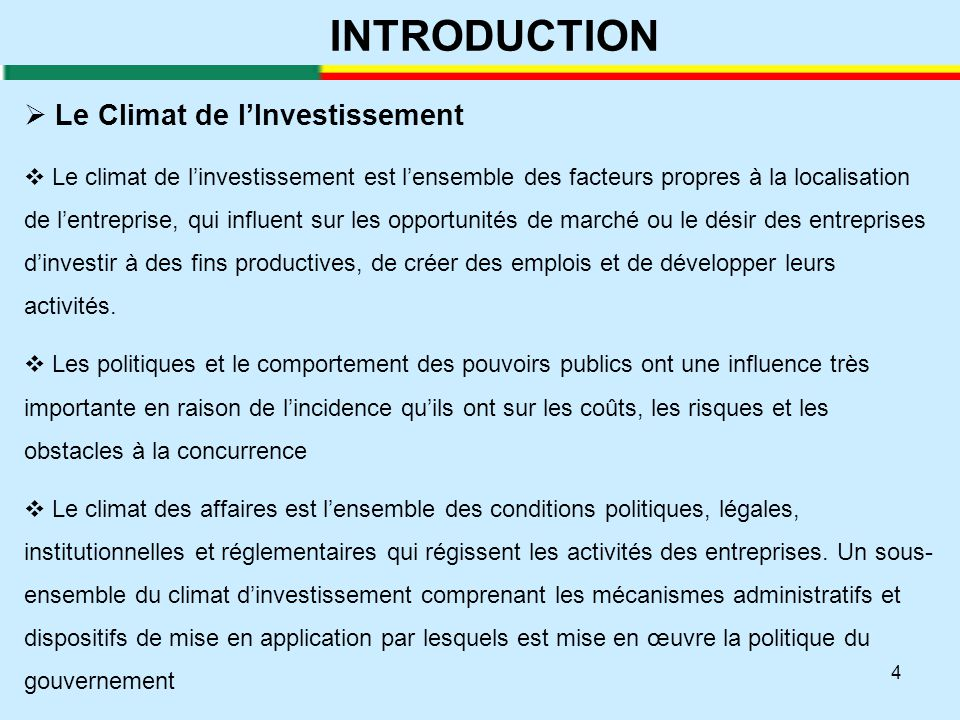 INTRODUCTION Le Climat de l'Investissement
