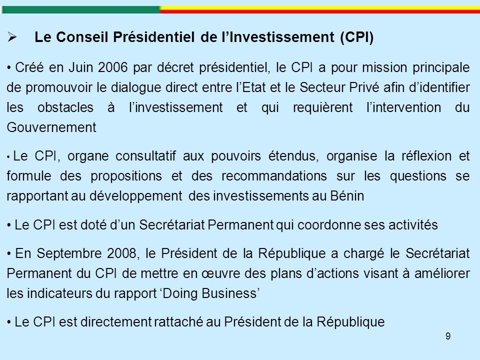 Le Conseil Présidentiel de l'Investissement (CPI)