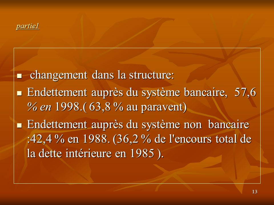 changement dans la structure: