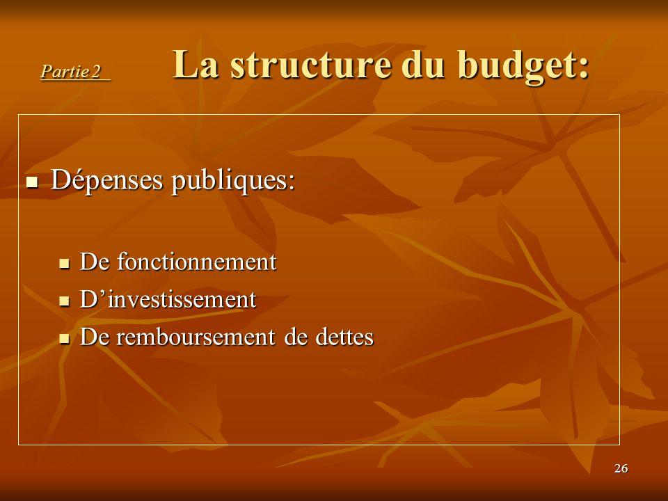 Partie 2 La structure du budget: