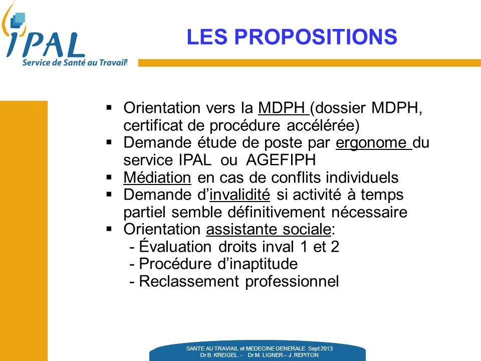 LES PROPOSITIONS Orientation vers la MDPH (dossier MDPH, certificat de procédure accélérée)
