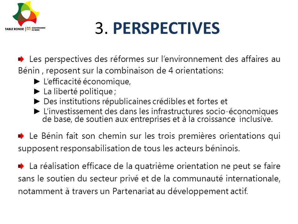 3. PERSPECTIVES Les perspectives des réformes sur l'environnement des affaires au Bénin , reposent sur la combinaison de 4 orientations: