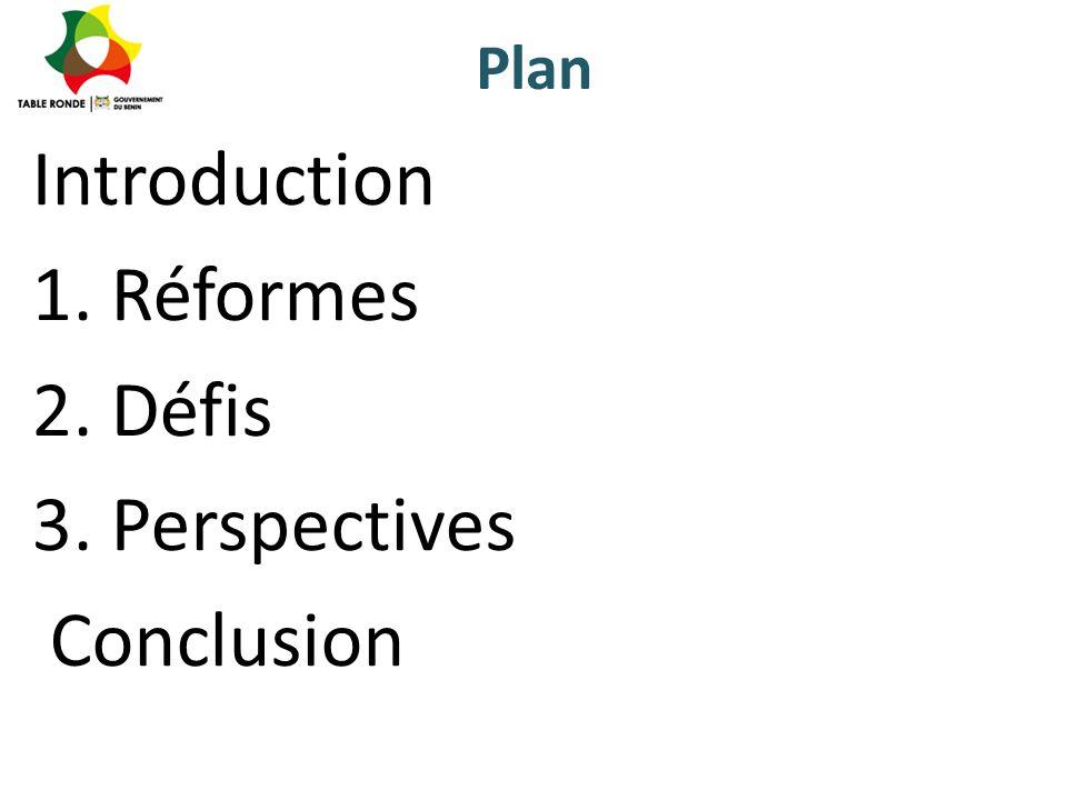 Introduction 1. Réformes 2. Défis 3. Perspectives Conclusion