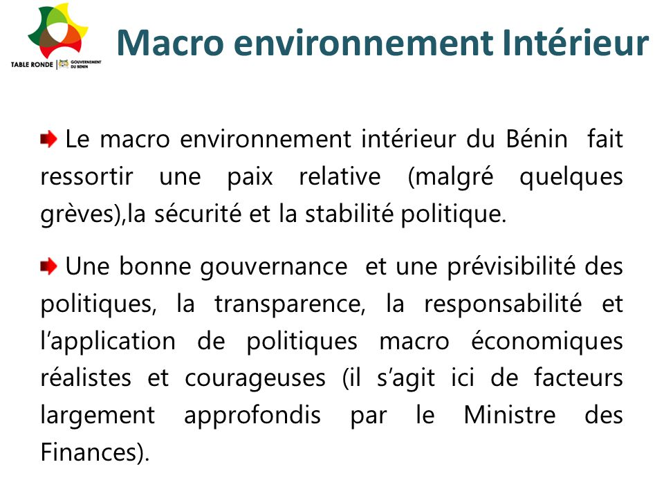 Macro environnement Intérieur