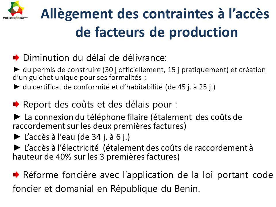 Allègement des contraintes à l'accès de facteurs de production