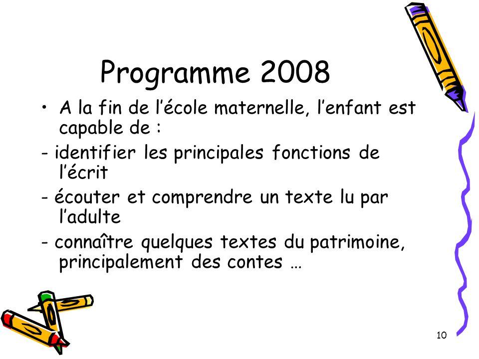 Programme 2008 A la fin de l'école maternelle, l'enfant est capable de : - identifier les principales fonctions de l'écrit.