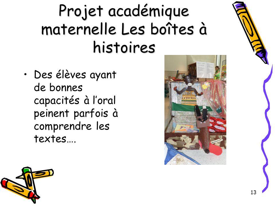Projet académique maternelle Les boîtes à histoires