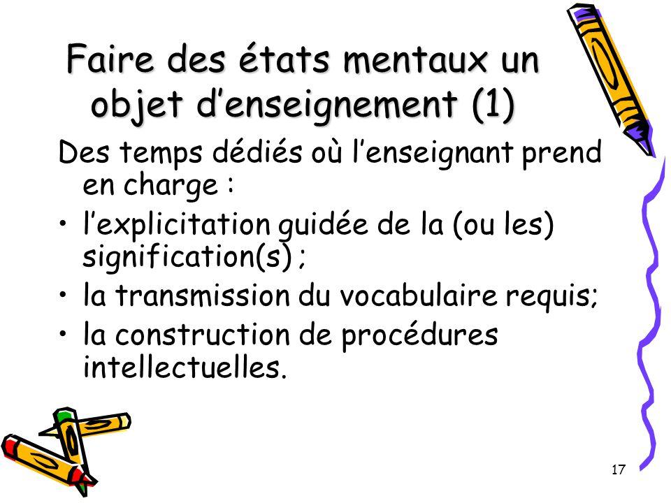 Faire des états mentaux un objet d'enseignement (1)
