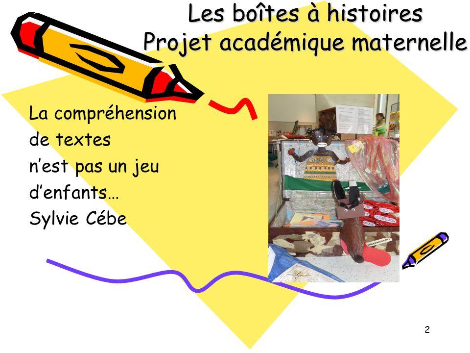 Les boîtes à histoires Projet académique maternelle