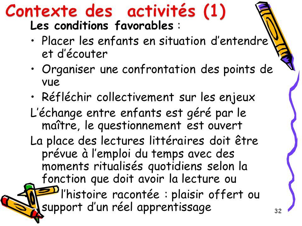 Contexte des activités (1)