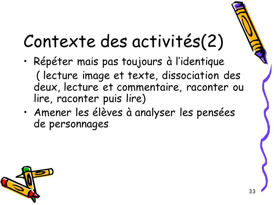 Contexte des activités(2)