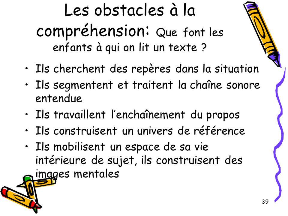 Les obstacles à la compréhension: Que font les enfants à qui on lit un texte