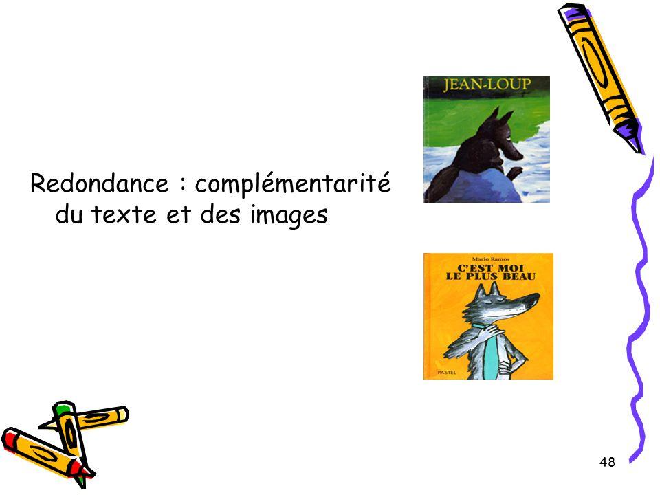 Redondance : complémentarité du texte et des images