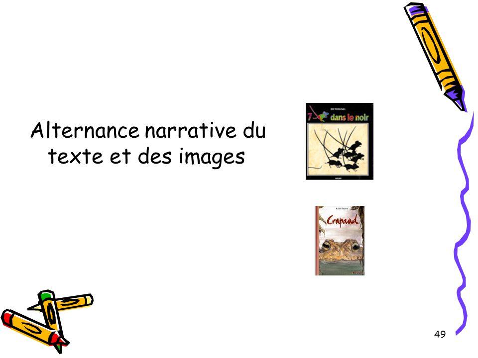 Alternance narrative du texte et des images