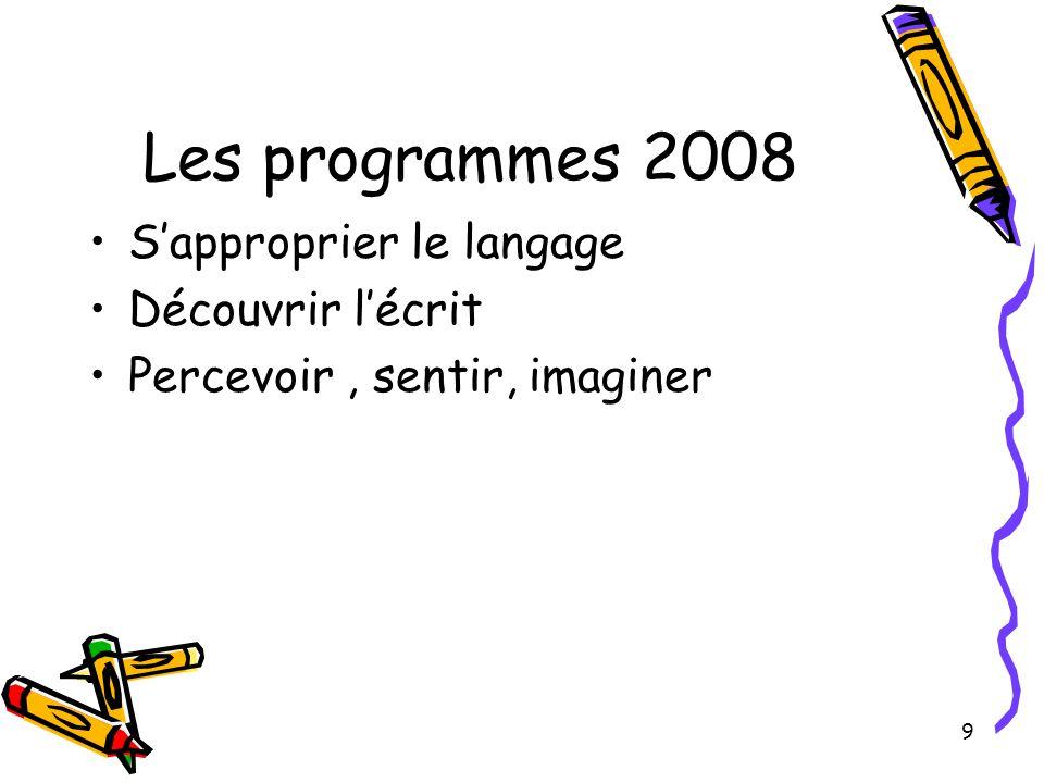 Les programmes 2008 S'approprier le langage Découvrir l'écrit