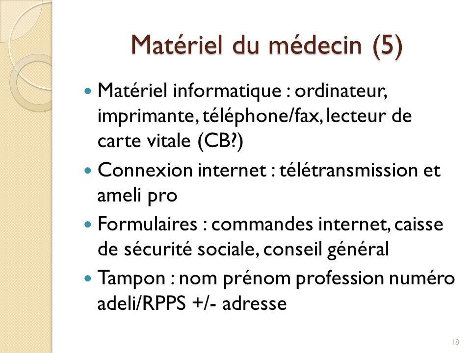 Matériel du médecin (5) Matériel informatique : ordinateur, imprimante, téléphone/fax, lecteur de carte vitale (CB )