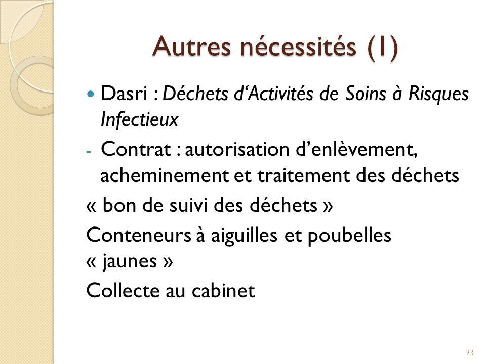 Autres nécessités (1) Dasri : Déchets d'Activités de Soins à Risques Infectieux.