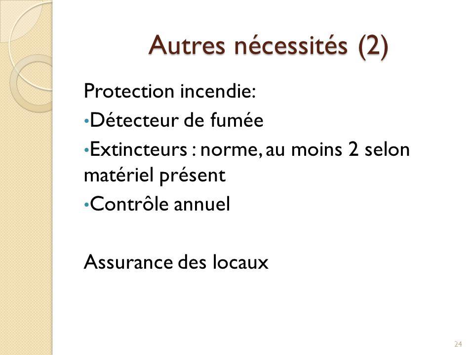 Autres nécessités (2) Protection incendie: Détecteur de fumée