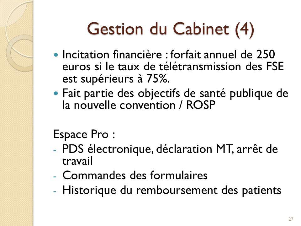 Gestion du Cabinet (4) Incitation financière : forfait annuel de 250 euros si le taux de télétransmission des FSE est supérieurs à 75%.