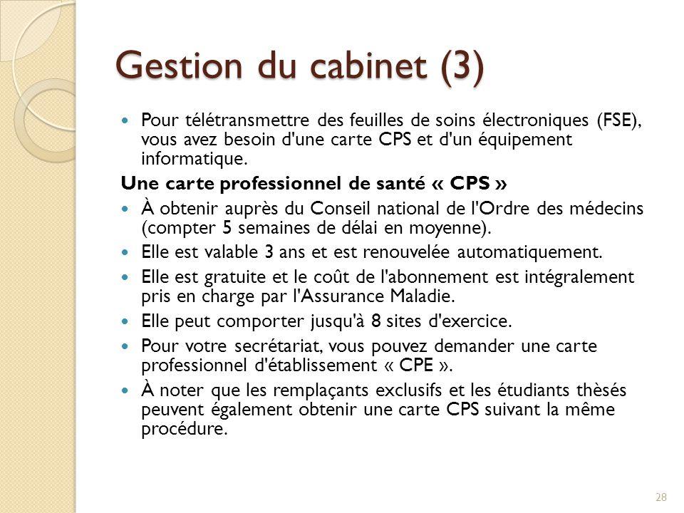 Gestion du cabinet (3)