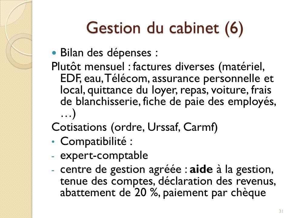 Gestion du cabinet (6) Bilan des dépenses :