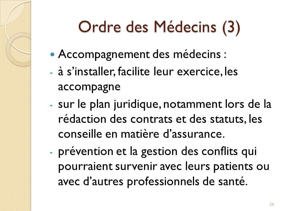 Ordre des Médecins (3) Accompagnement des médecins :