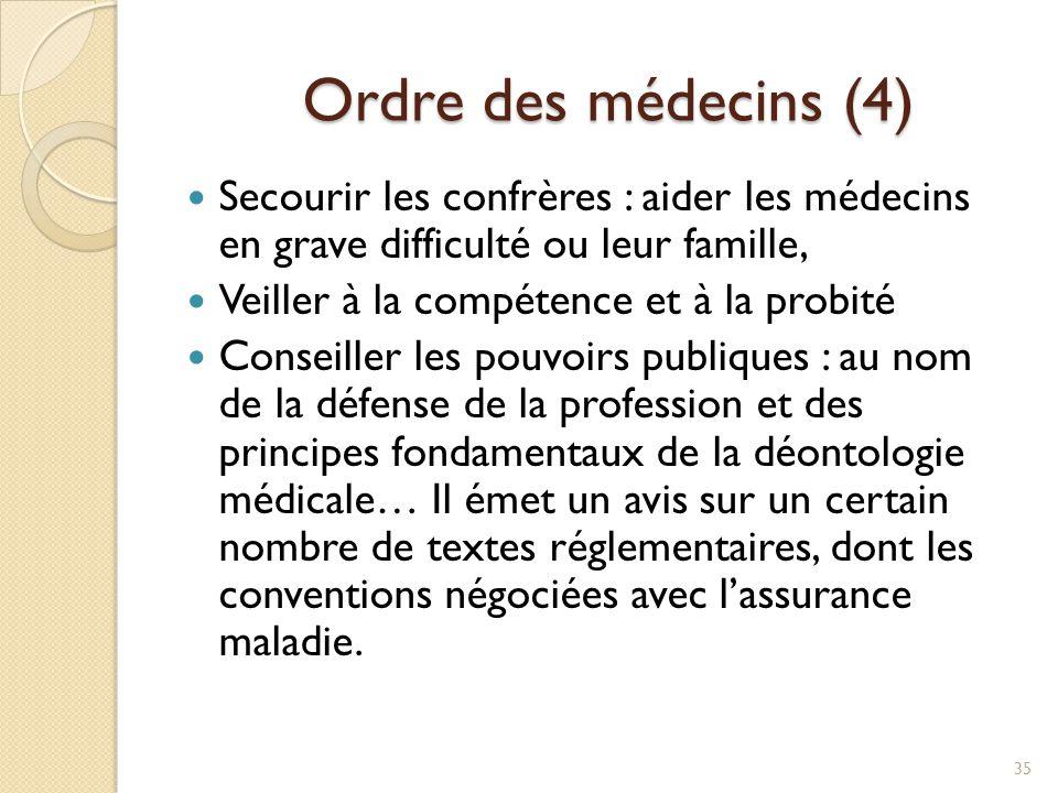 Ordre des médecins (4) Secourir les confrères : aider les médecins en grave difficulté ou leur famille,