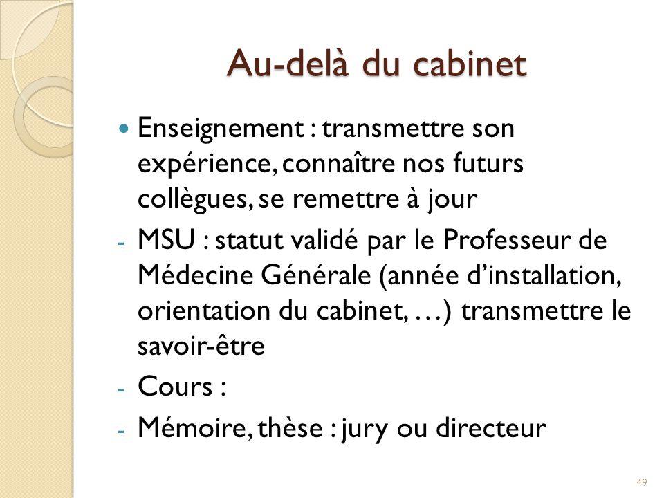 Au-delà du cabinet Enseignement : transmettre son expérience, connaître nos futurs collègues, se remettre à jour.