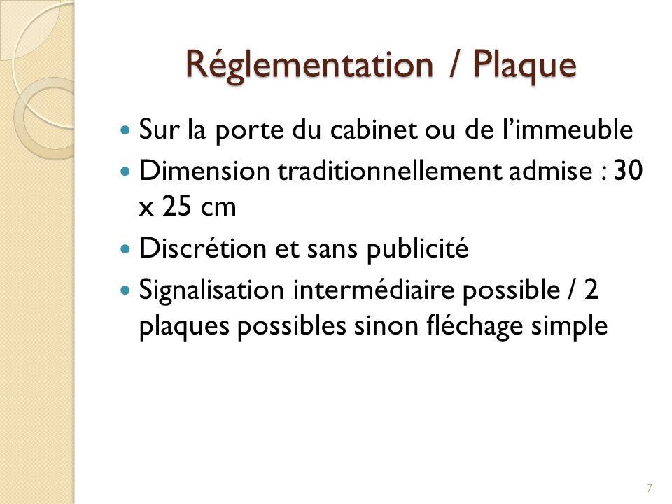 Réglementation / Plaque