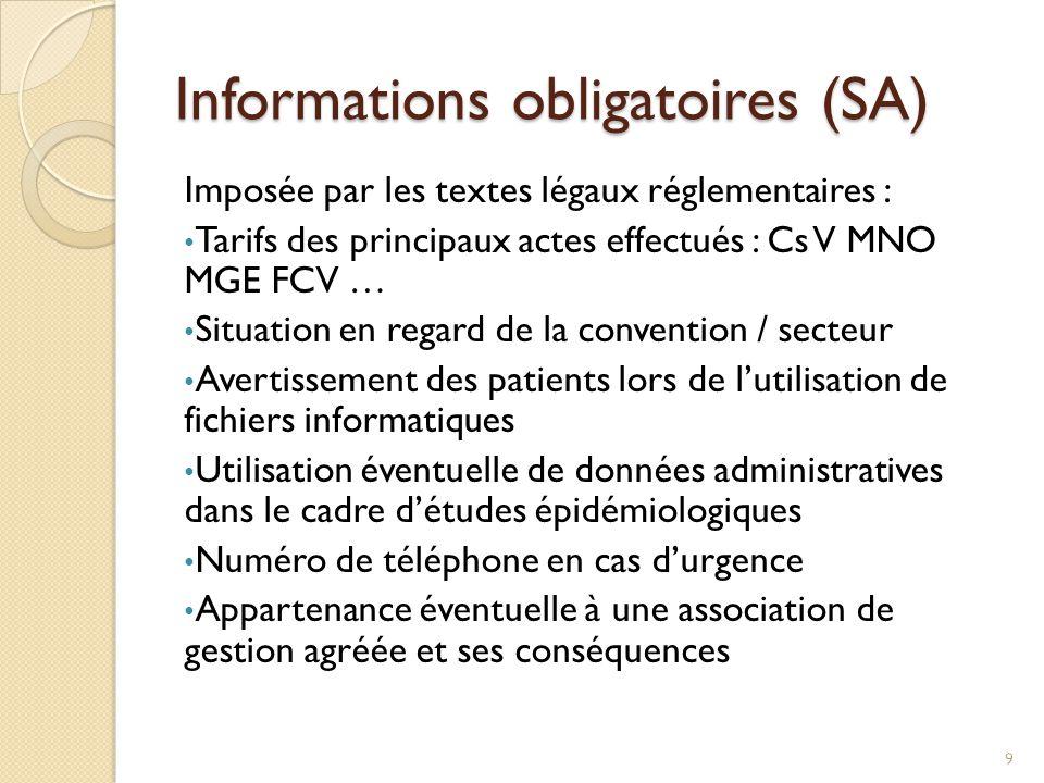 Informations obligatoires (SA)