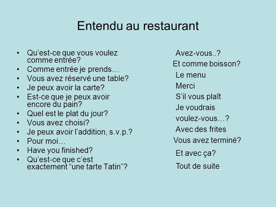 Entendu au restaurant Avez-vous..