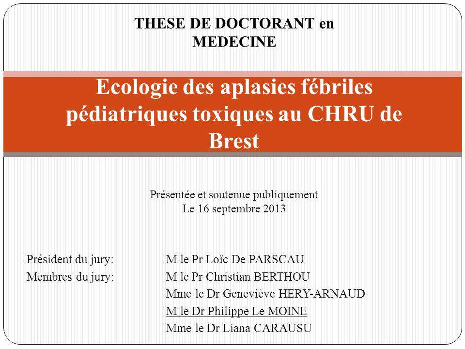 Ecologie des aplasies fébriles pédiatriques toxiques au CHRU de Brest