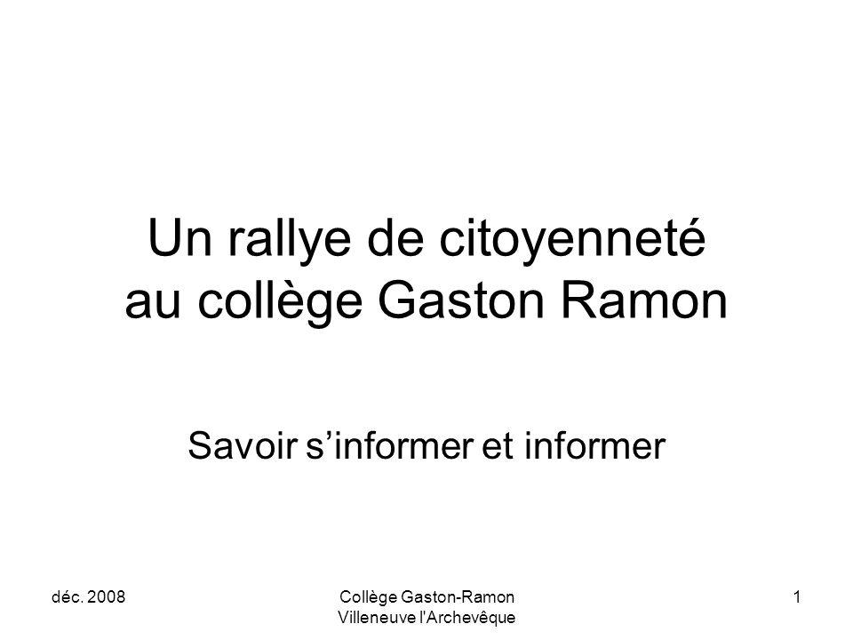 Un rallye de citoyenneté au collège Gaston Ramon