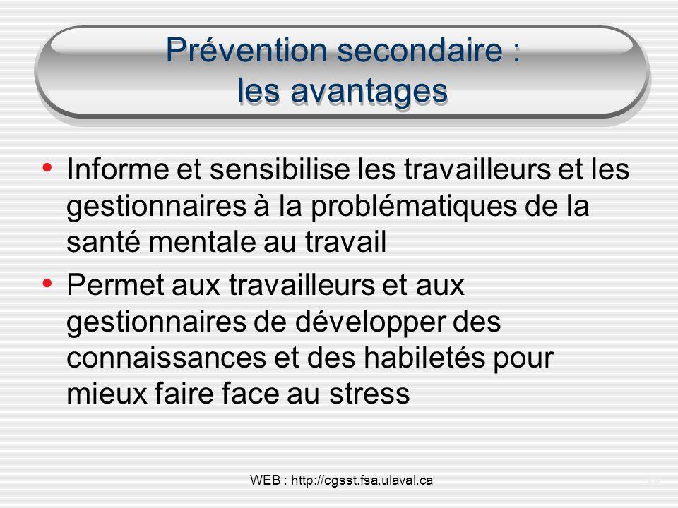 Prévention secondaire : les avantages