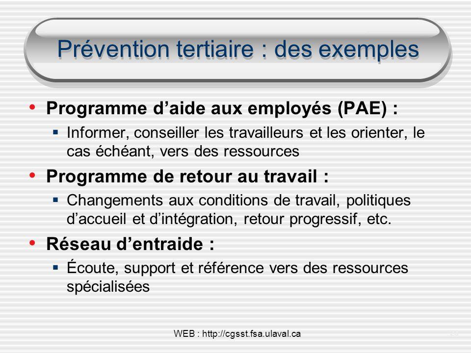 Prévention tertiaire : des exemples