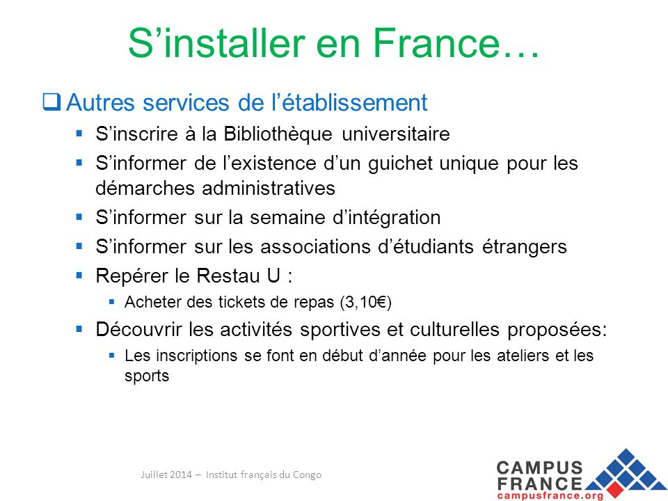 S'installer en France…