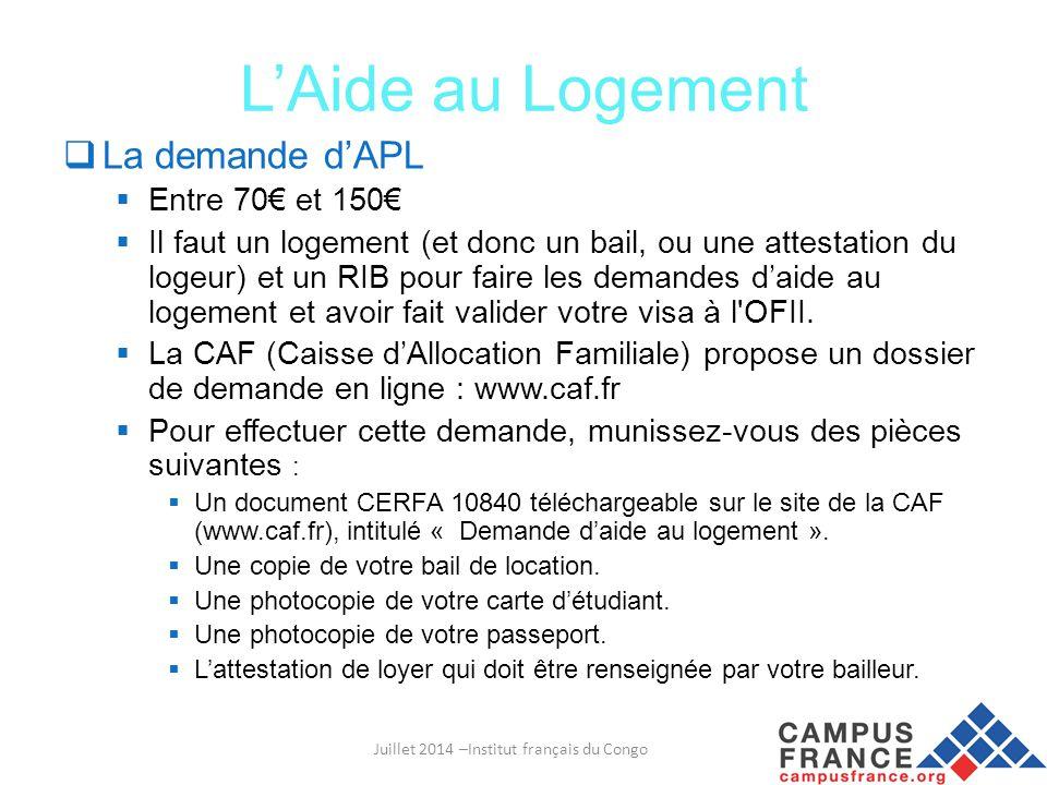 Juillet 2014 –Institut français du Congo