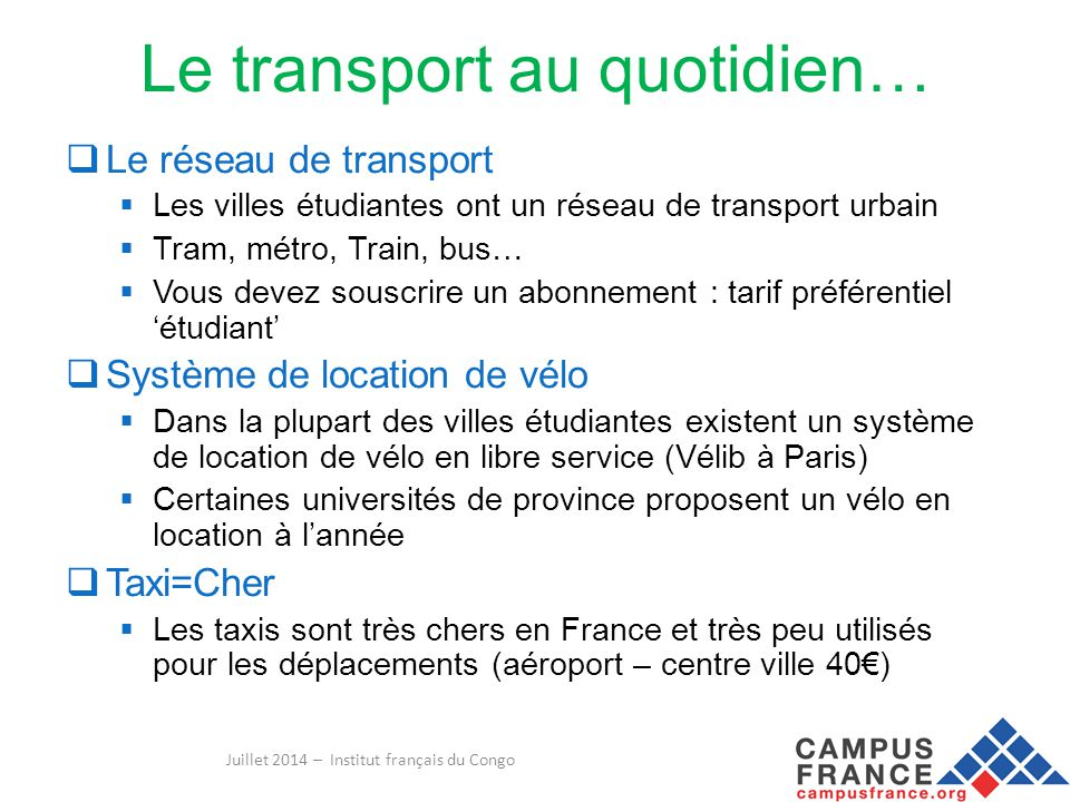 Le transport au quotidien…