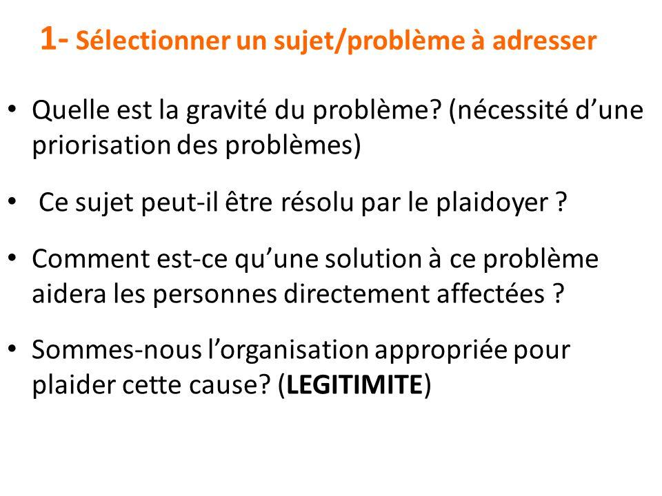 1- Sélectionner un sujet/problème à adresser