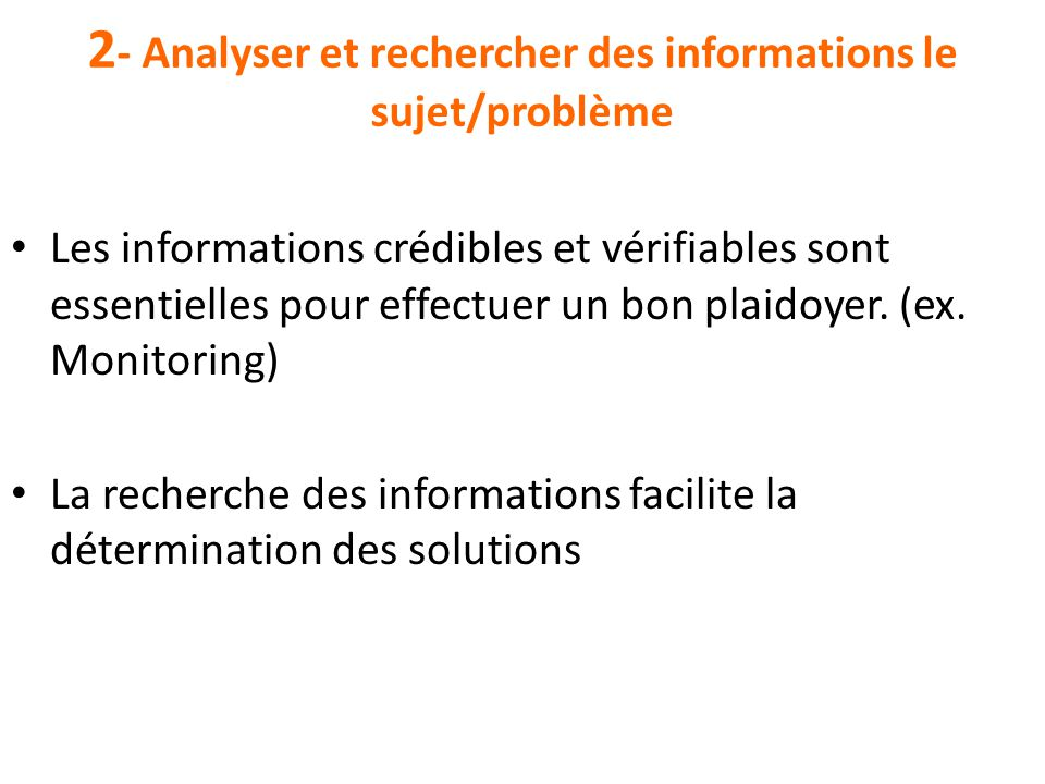 2- Analyser et rechercher des informations le sujet/problème