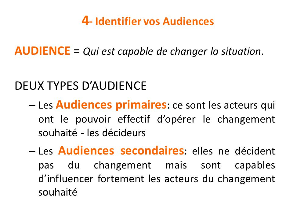 4- Identifier vos Audiences